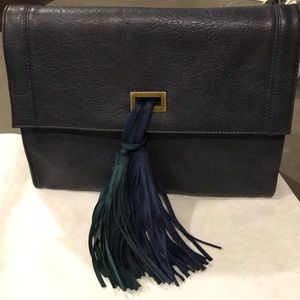 New Navy clutch with tassels and optional chain